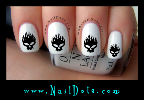 Flaming Skull Nail Decals