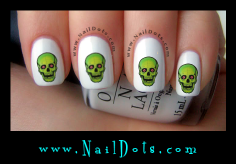 Green skull Nail Decals