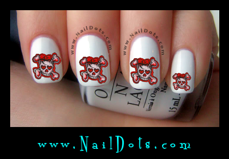 Red Black Grunge Skull nail decals