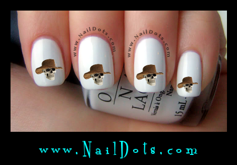 Skull in cowboy hat nail decals