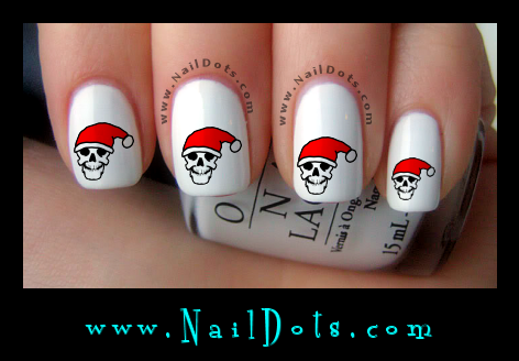 Skull in Santa Hat nail decals