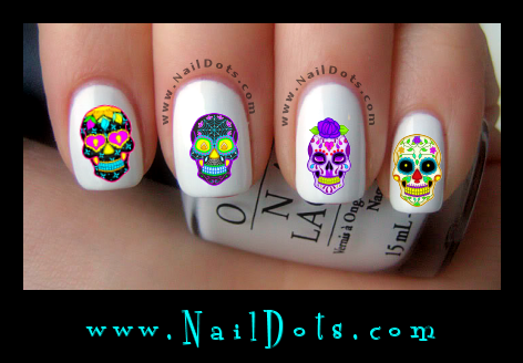 Sugar Skulls 1 nail decals