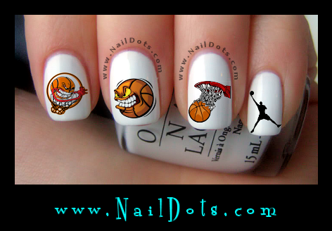 Basketball nail decals
