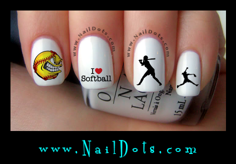 Softball Nail decals