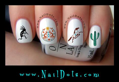 Southwest Nail Decals. Southwest Nail Art - Southwest Nail Decals - Western Nail Decals - Nail Dots - Nail