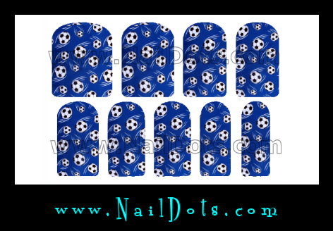 Blue Soccer Ball Nail Wraps