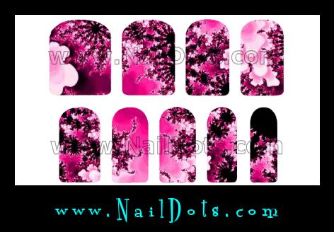 Crazy Pink Flower Nail Wraps