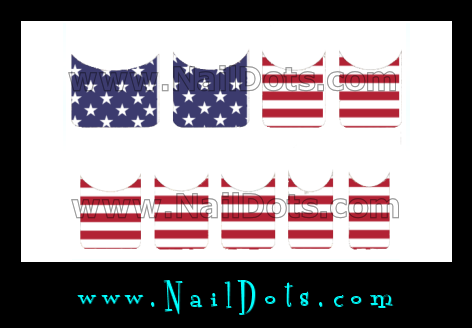 Flag Nail Tips - Stars & Stripes