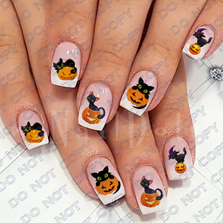 Cat on a Pumpkin Nail Decal