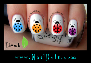 Colorful Lady Bug Nail Decals