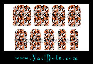 Orange and Gray Camo Nail Wraps or Tips