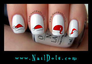 Santa Hat Nail Decals