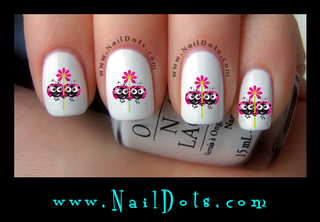 Pink Lady Bug with flower Nail Decals