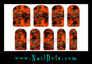 Orange Camo Tree Nail Wraps or Nail Tips