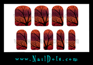 Fall Tree Nail Wraps or Nail Tips