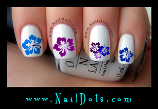Blue & Purple Hibiscus Nail Decals