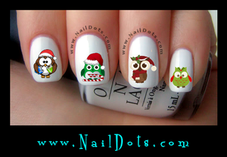 Christmas Owl Nail Decals