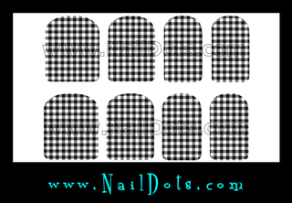 Black and White Gingham Check Nail Wraps or Nail Ttips
