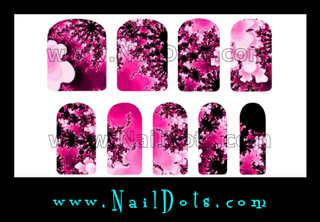 Crazy Pink Flower Nail Wraps or Nail Tips