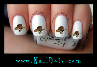 Skull in Cowboy Hat Nail Decal