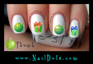 Green Ornaments and Presents Nail Decals