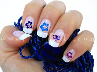 Hibiscus Nail Decals - Blue & Purple