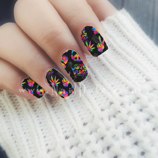 Peace Love and Hippie Nail Wraps or Nail Tips