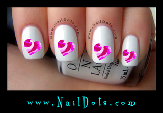 Pink Camo Heart Nail Decals