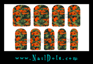 Orange and Green Camo Nail Wraps or Nail Tips
