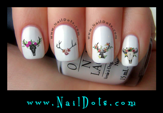 Deer and Bull Skull Nail Decals