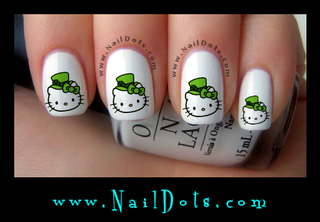 St Patrick's Hello Kitty Nail Decals
