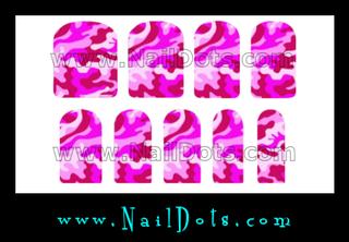 Pink Camo Nail Wraps or Nail Tips