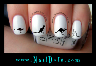 Black Kangaroo Nail Decal