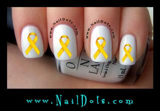 Gold Awareness Ribbon Nail Decals