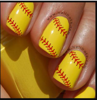 Softball Lace Nail Decals