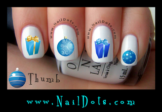 Blue Ornaments and Presents Nail Decals