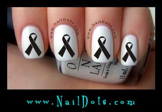 Black Awareness Ribbon Nail Decals