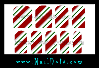 Green Striped Candy Cane Nail Wraps