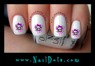 Grunge Purple and Pink Skull Nail Decal