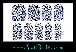 Leopard Nail Wraps - Blue