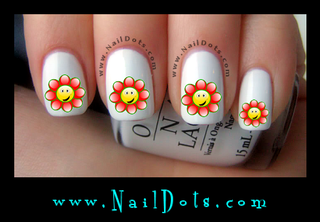 Smilie Flower Nail Decals