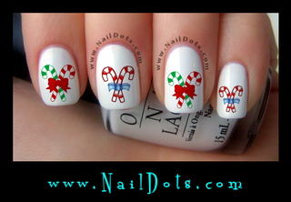 Candy Cane Nail Decals