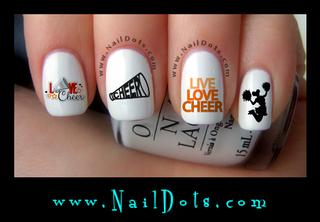 Cheer Orange Nail Decals