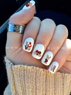 Valentine Plaid Gnome Nail Decals