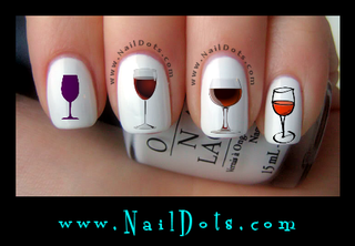 Wine Glass Nail Decal