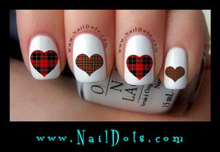 Plaid Heart Nail Decals