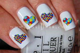 Autism Awareness Hearts Nail Decals