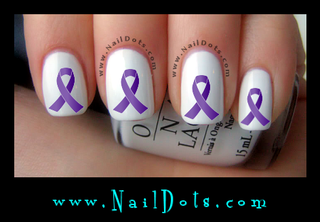 Purple Awareness Ribbon Nail Decals
