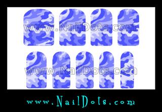Blue Camo Nail Wraps or Nail Tips