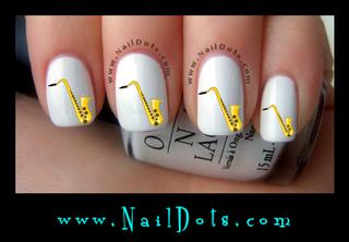 Saxaphone Nail Decals